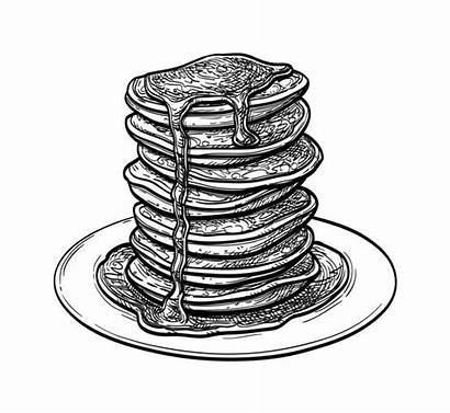 Pancakes Stack Clip Illustrations Sketch Vector Graphics