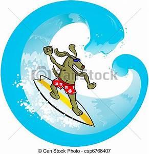Stock Illustrations of Surf Dog - Vector illustration of a ...