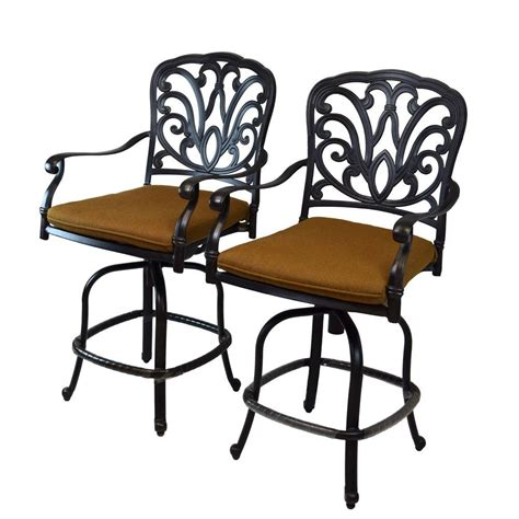 oakland living hton aluminum patio bar stool with