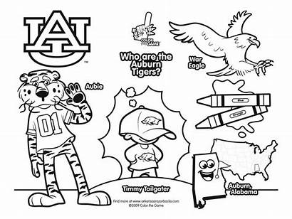 Auburn Coloring Pages Football Tigers Alabama College