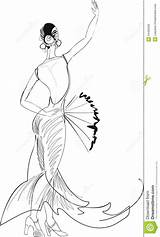 Dancer Flamenco Coloring Fan Pages Dancers Sketch Belly Sketches Dance Royalty Outline Radiokotha Vector sketch template