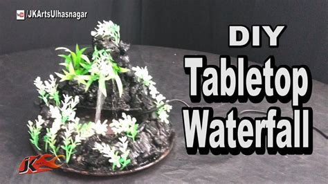 diy    waterfall tabletop cement mountain