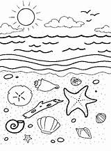 Coloring Shells Sea Pages Under Ocean Printable Beach Tide Pool Creatures Worksheets Summer Animals Colouring Quotes Fish Theme Preschool Animal sketch template