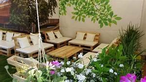 Salon Exterieur Palette : fabriquer salon jardin palette bois idees accueil design et mobilier ~ Teatrodelosmanantiales.com Idées de Décoration