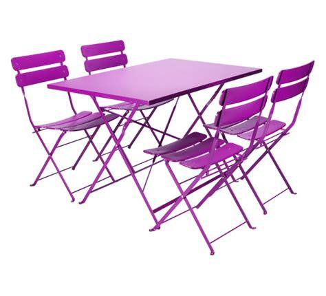 Salon de Jardin Rectangulaire Pliant Violet Mat 4 places 195u20ac | Salon