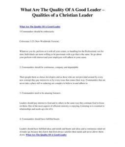 quality   good leader qualities