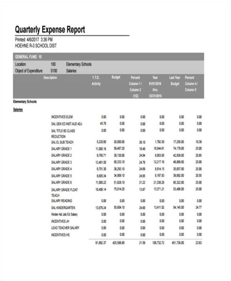 expense report examples samples  ms word