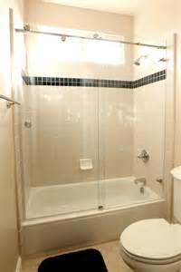 bathroom tub tile ideas sliding glass door combined with white tub placed on the