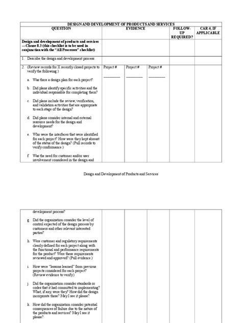 Design and Development Process Checklist | Verification