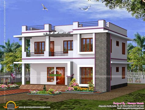 1995 Sqfeet 4 Bedroom Exterior  Kerala Home Design And
