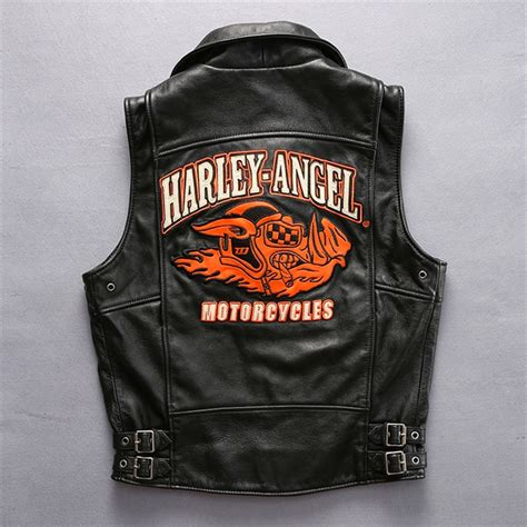 Cowhide Leather Vest by Harley Motorcycle Cow Leather Vest Slim