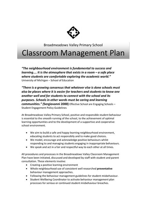 primary school classroom management plan