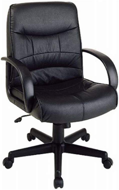 office ex1201 mid back leather computer desk chair