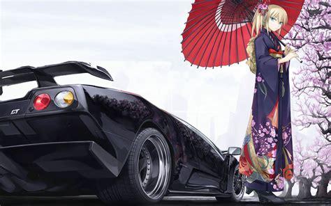 wallpaper car girl sakura ferrari gt anime