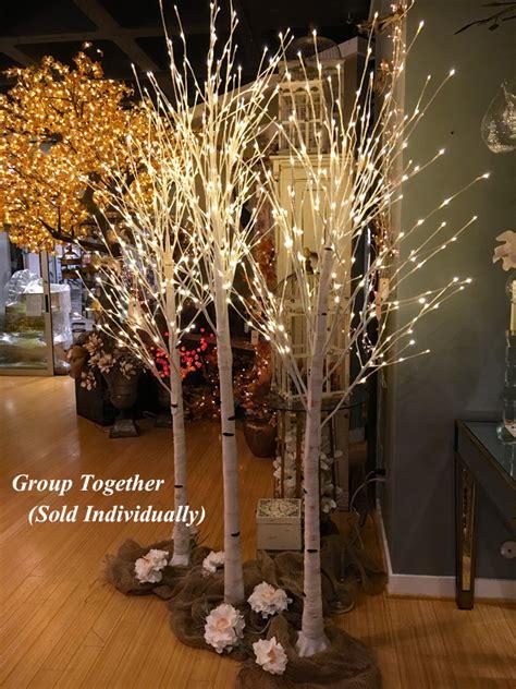 illuminated garden  foot white birch tree  warm