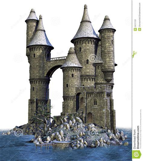 fantasy castle   island stock illustration