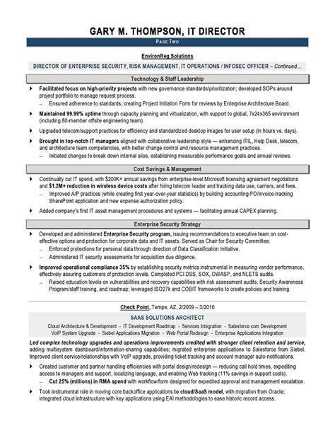 Resume For It by It Director Sle Resume It Resume Writer Technical