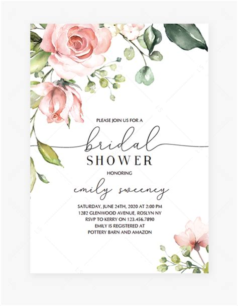 floral baby shower invitation template hd png
