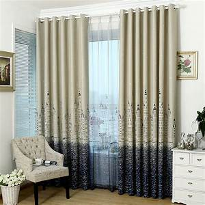 Kids bedroom castle patterns wide blackout curtains for Curtains for bedroom