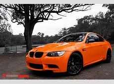 Gloss orange vinyl wrap BMW M3 by Carbon Demon Sydney