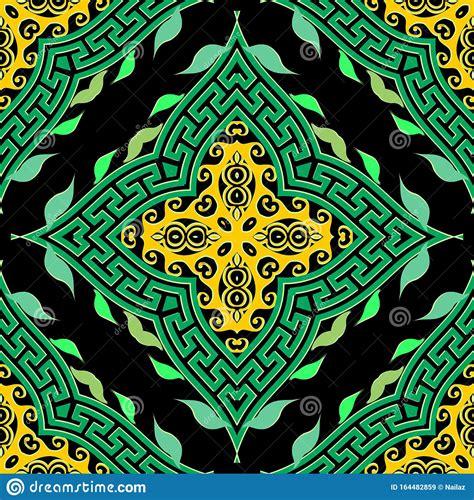 Green Ethnic Geometric Seamless Pattern Greek Ornamental
