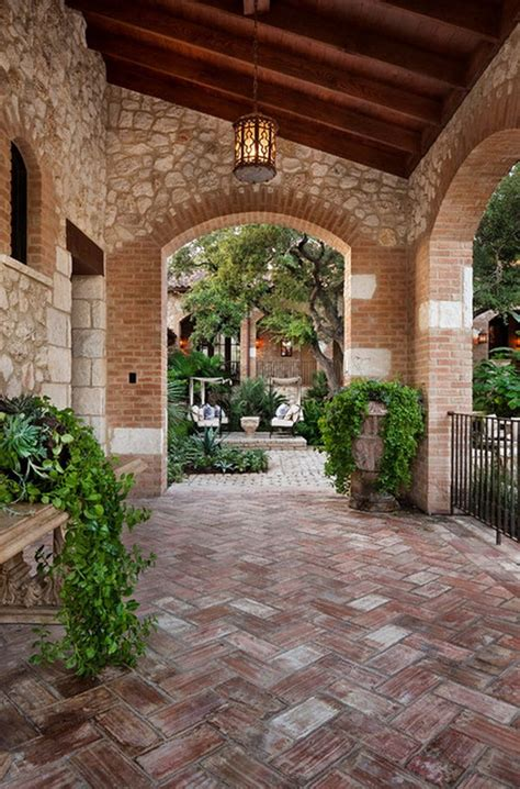 Mediterranean Chevron Brick Patio Floor Exterior Design