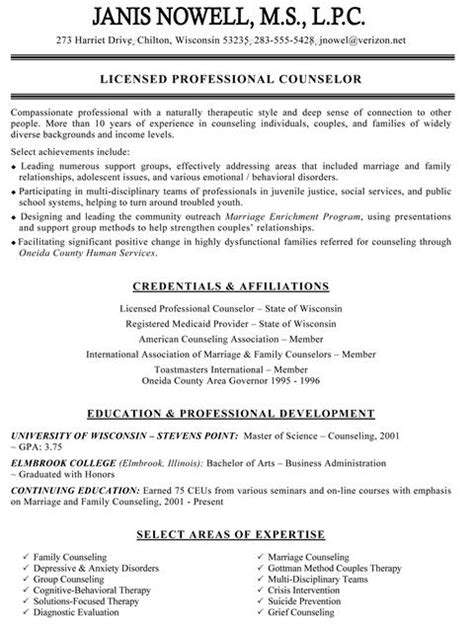 Counselor Intern Resume Sles by Resume Exles