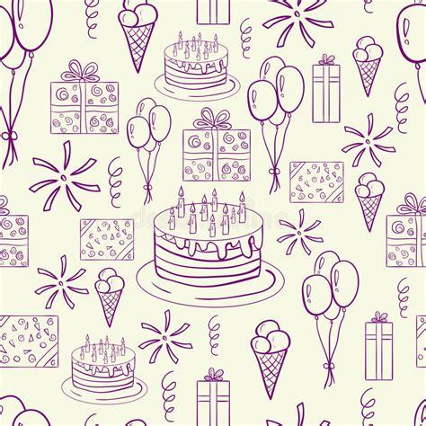 happe birthday vector doodle seamless pattern stock vector