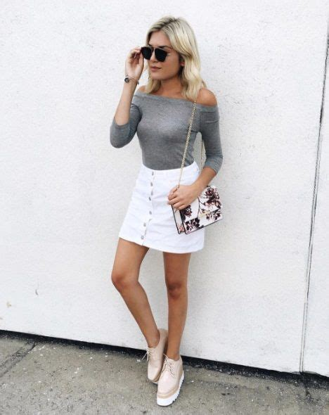 Best 25+ White denim skirt ideas on Pinterest | Black cami outfit White denim dress and Paola ...
