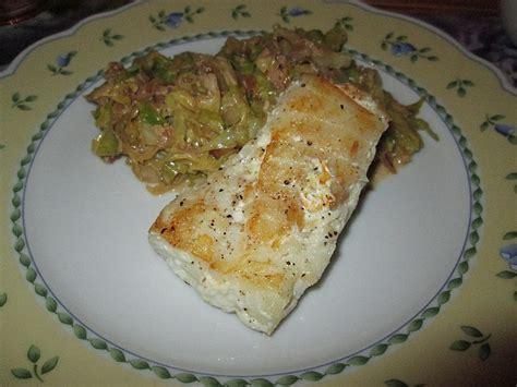gebratener spitzkohl mit kabeljau filet von lan