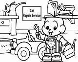 Coloring Garage Parking Repair Template Boy sketch template