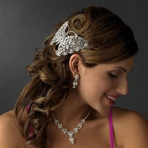 Silver Plated Butterfly Barrette Elegant Bridal Hair