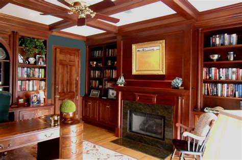 hand crafted mahogany study  fireplace  odhner