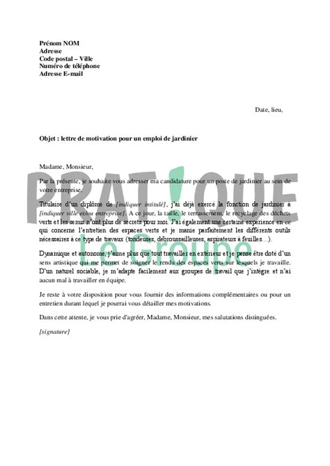 modèle de lettre de relance pour un emploi lettre de motivation pour un emploi de jardinier pratique fr