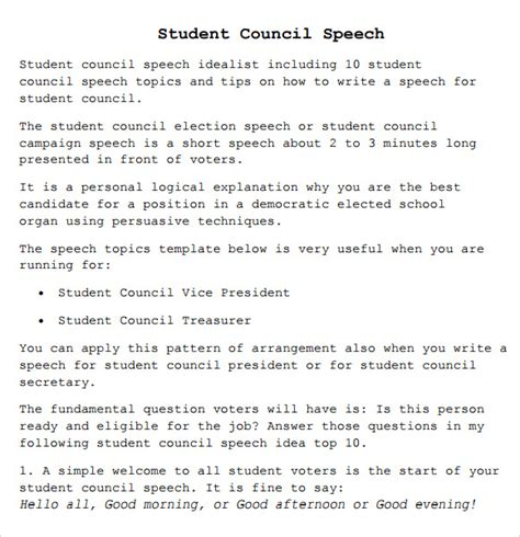 informative speech exles for highschool students 8 student council speech sles pdf sle templates