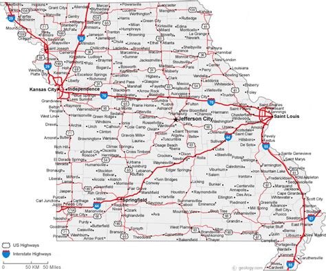 map  missouri cities missouri road map