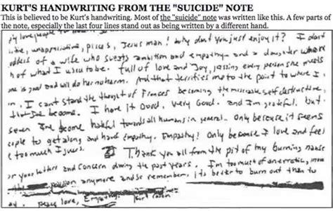 kurt cobain letter kurt cobain s note analyzed handwriting 31427