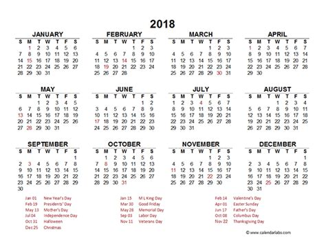 2018 Yearly Calendar Template 2018 Yearly Calendar Template Excel Free Printable Templates