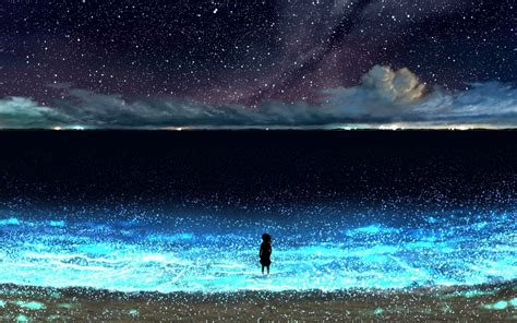 anime night sky stars beach scenery   wallpaper