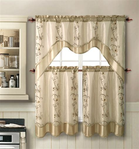 drapery sets vcny 174 embroidered kitchen curtain set assorted