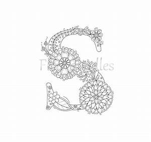 adult coloring page floral letters alphabet s hand With letter writing kit for adults