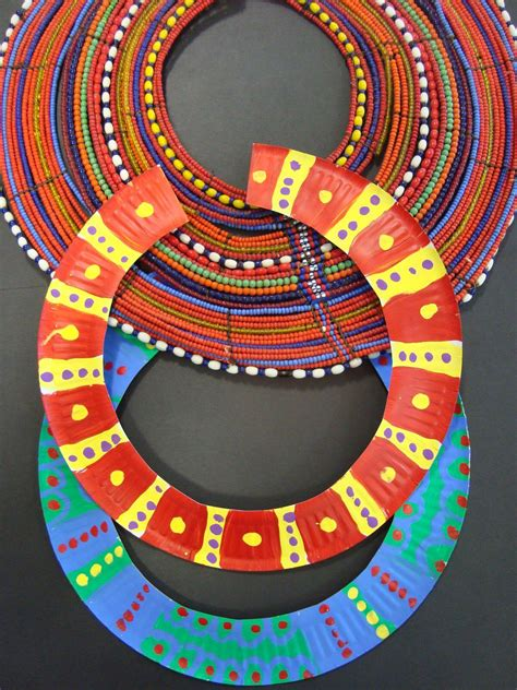 paper plate necklace african art projects african crafts paper plate crafts  kids