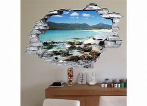 Mur Trompe L Oeil : sticker trompe l 39 oeil 3d mur d chir plage et rochers ~ Melissatoandfro.com Idées de Décoration