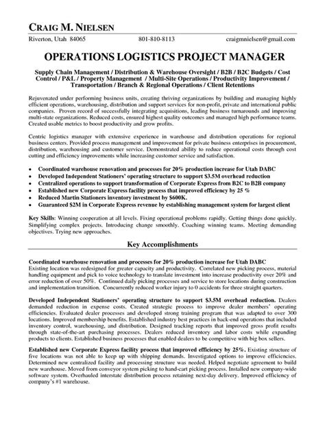 Resume Logistics Operations Manager by Logistics Operations Manager Resume Operations Logistics Project Manager In Salt Lake City Ut