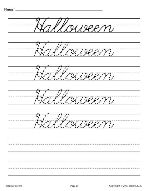 cursive handwriting worksheets seasons