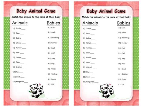 Baby Animal Name Game. Answers Are