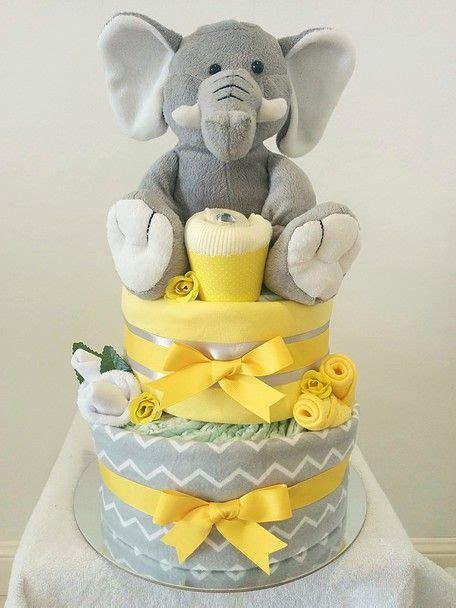 nappy cakes  emma yellow  grey elephant nappy cake