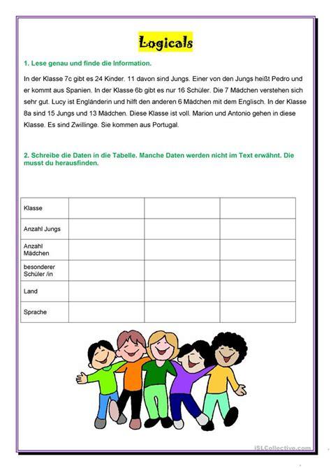 englisch für kindern kostenlos logicals klassen arbeitsblatt kostenlose daf arbeitsbl 228 tter