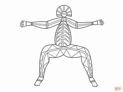 Aboriginal Coloring Pages Ray Printable Figure Drawing
