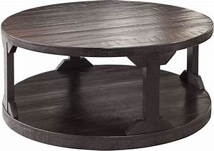 Rogness rustic brown round cocktail table t745 8 ashley for Rustic circle coffee table